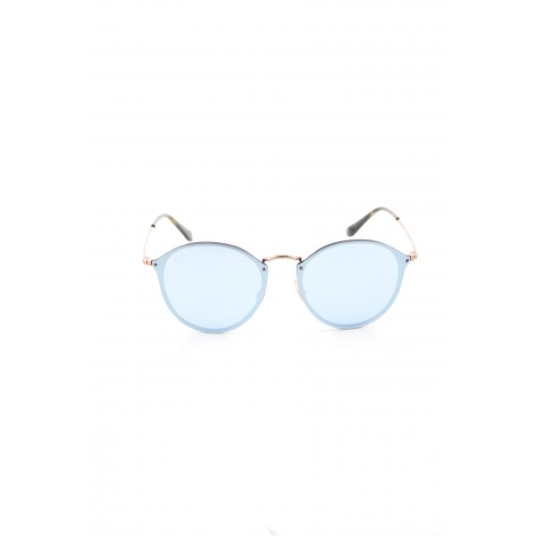 Ray Ban ovale Sonnenbrille blau-goldfarben Business-Look