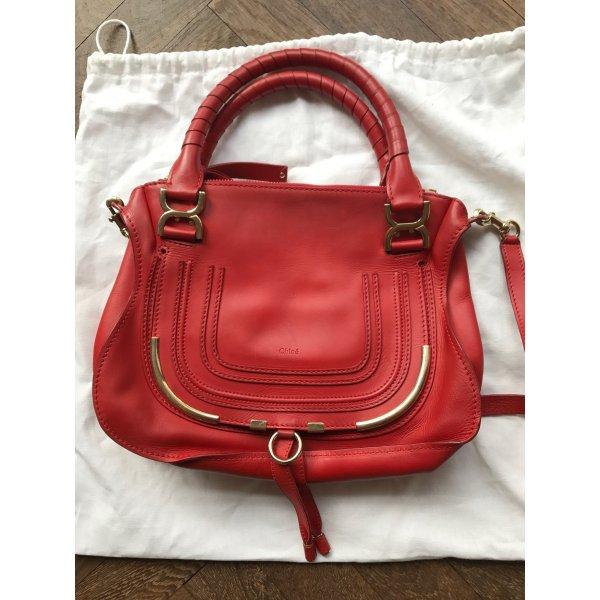 Chloé Carry Bag neon orange-cognac-coloured leather