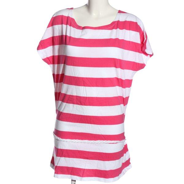 Reject Ringelshirt weiß-pink Streifenmuster Casual-Look