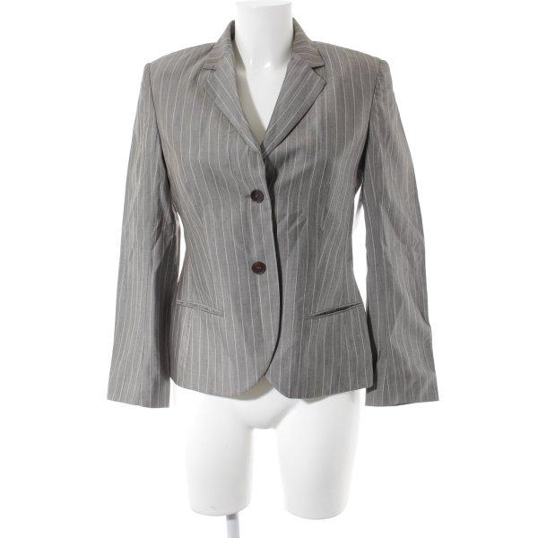 René Lezard Wool Blazer grey-nude pinstripe business style