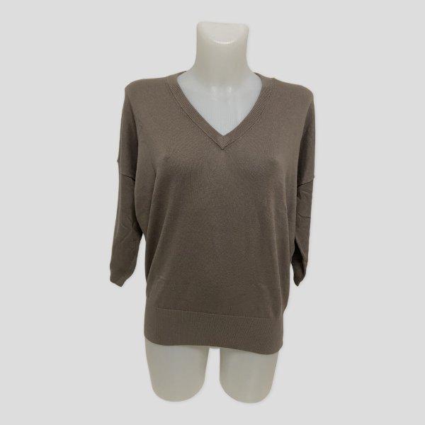 REPEAT Damen Pullover L 40 grau braun taupe