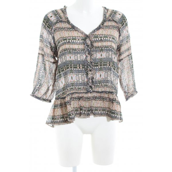 Repeat Kurzarm-Bluse abstraktes Muster Casual-Look