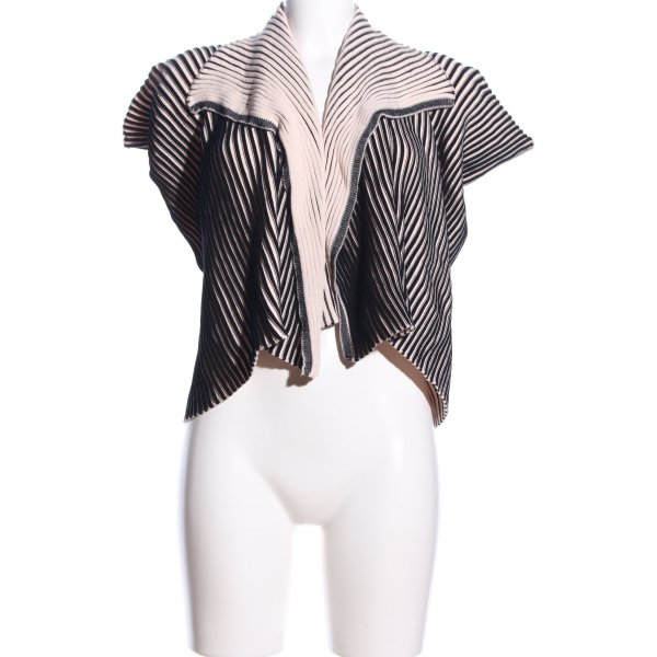 Repetto Strick Cardigan schwarz-creme Streifenmuster Business-Look