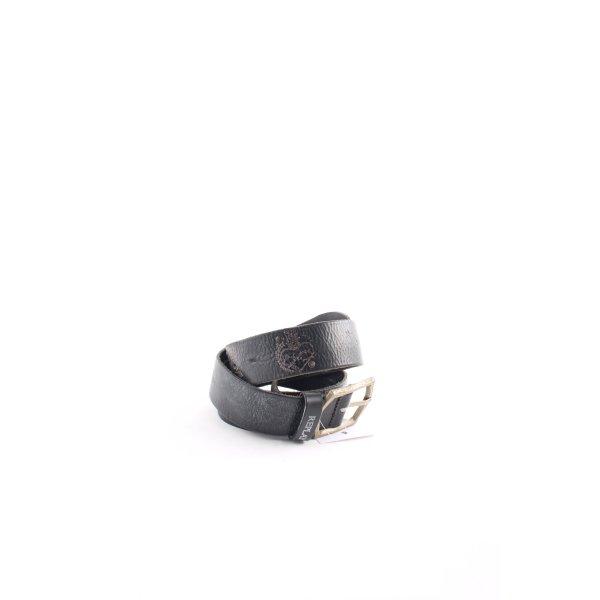 Replay Cinturón de cuero negro estilo punk