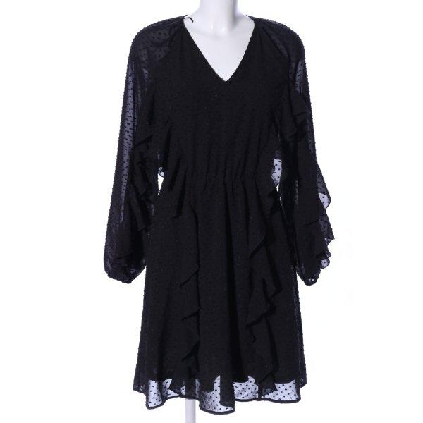 Reserved Volantkleid schwarz Punktemuster Elegant