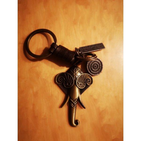 Retro Schlüssel-/Taschenanhänger Elefant Metall Leder NEU