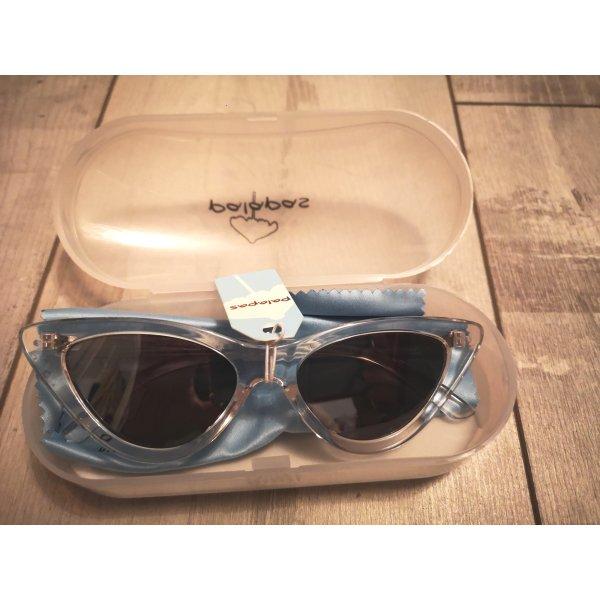 Retro Sonnenbrille von palapas mit dunklen Gläsern, farblos NEU
