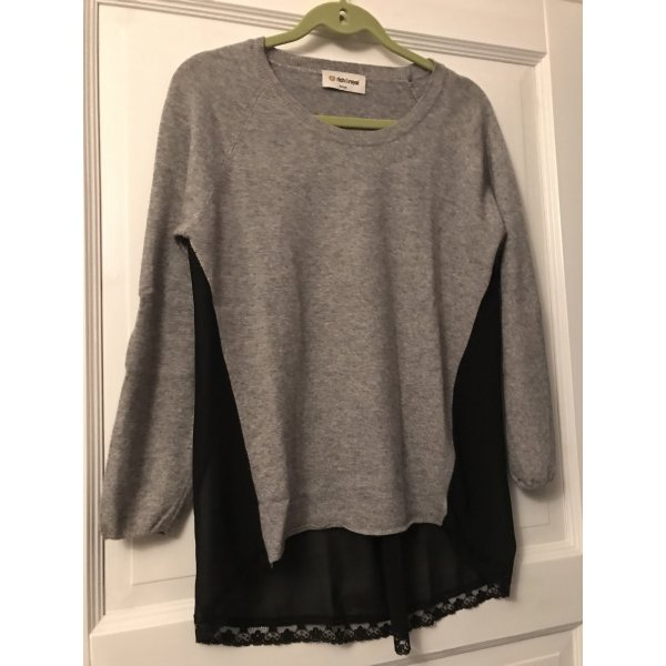 Rich & Royal Pullover grau / schwarz Spitze Gr. M