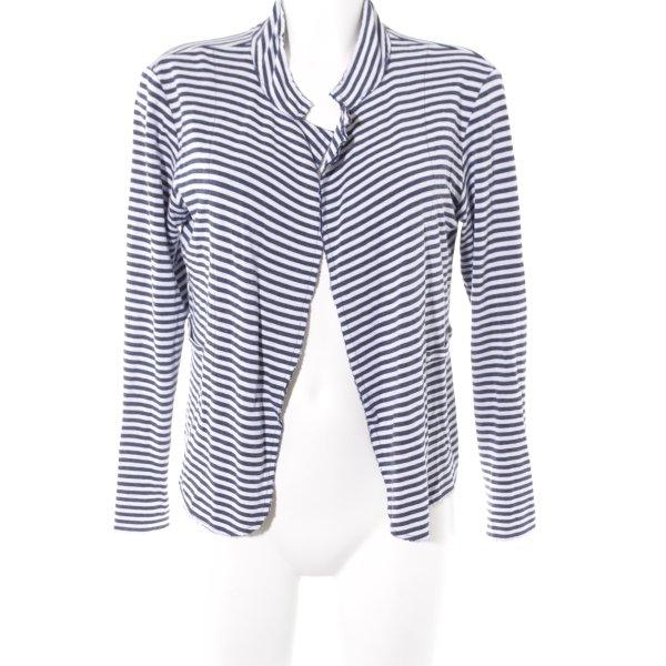 Rich & Royal Chaleco de punto blanco-azul acero estampado a rayas look casual