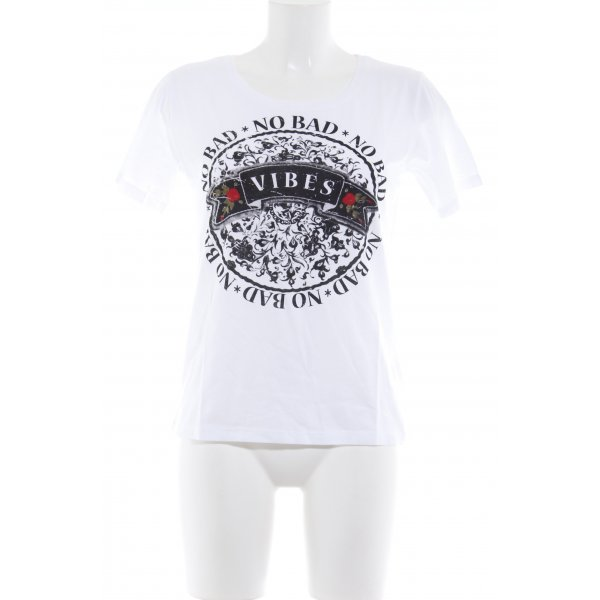Rich & Royal T-Shirt weiß abstrakter Druck Biker-Look