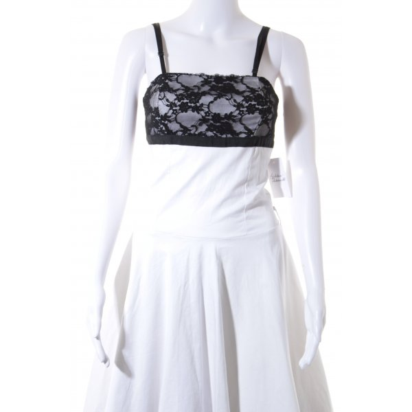 Rinascimento Babydollkleid wollweiß-schwarz 50ies-Stil