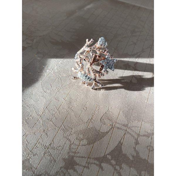 Ring mit Steinen, GR. 17 (54), silber, rosé Farbe