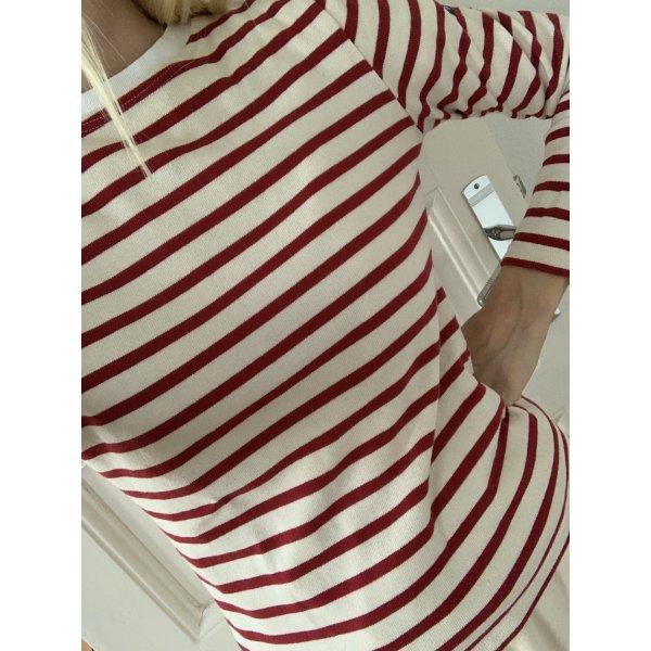 Ringelshirt rot weiß Langarmshirt Rundhals S 36 Pullover mit streifen gestreift