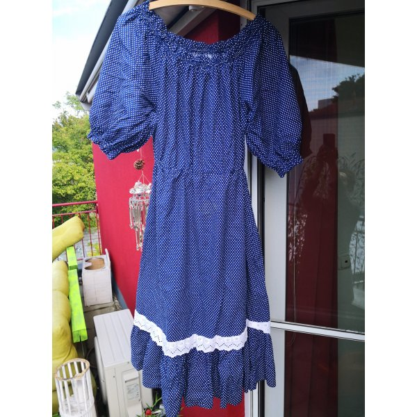 Rockabilly Kleid mit Puffarmen und Spitzenrand