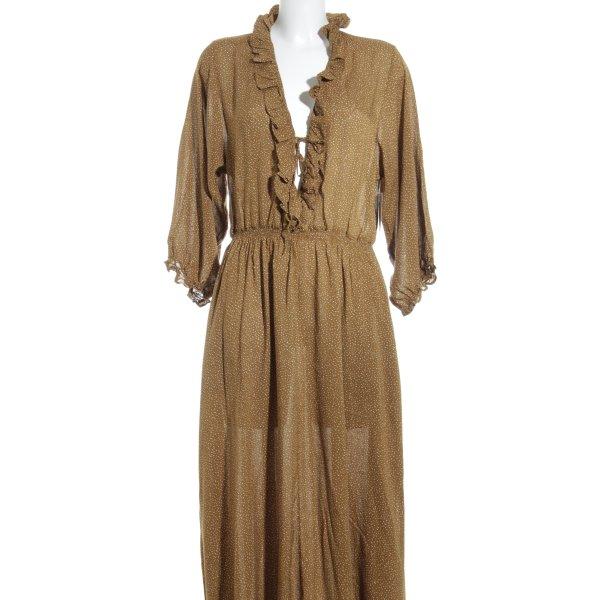 Rodebjer Blusenkleid beige-creme Punktemuster Schleifen-Detail