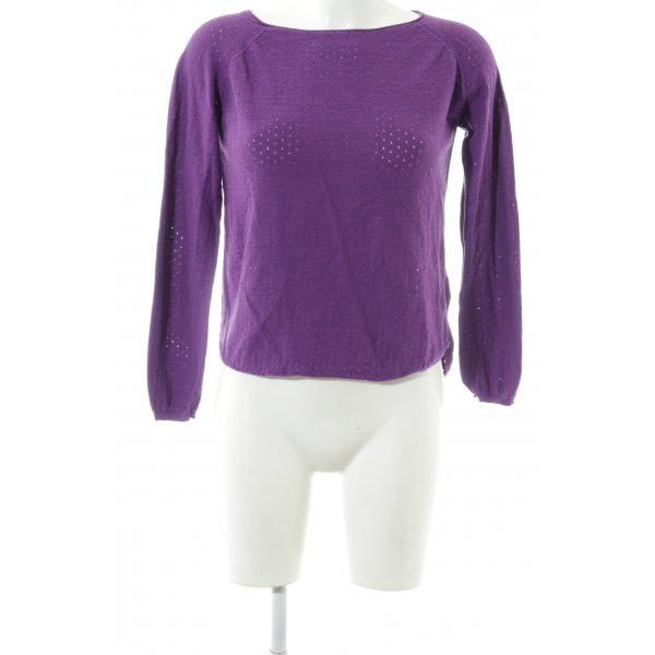 Rodier Rundhalspullover lila Casual-Look