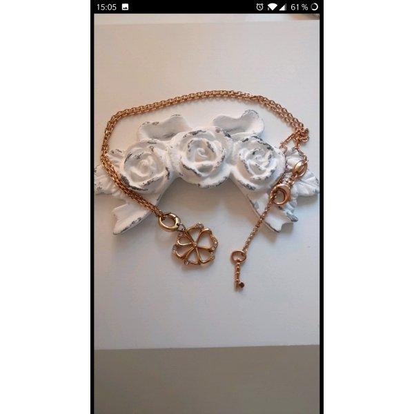 Romantische Kette von Fossil,Blumen-Anhänger, Neu, Zirkonia, rosegold-farben, vintage