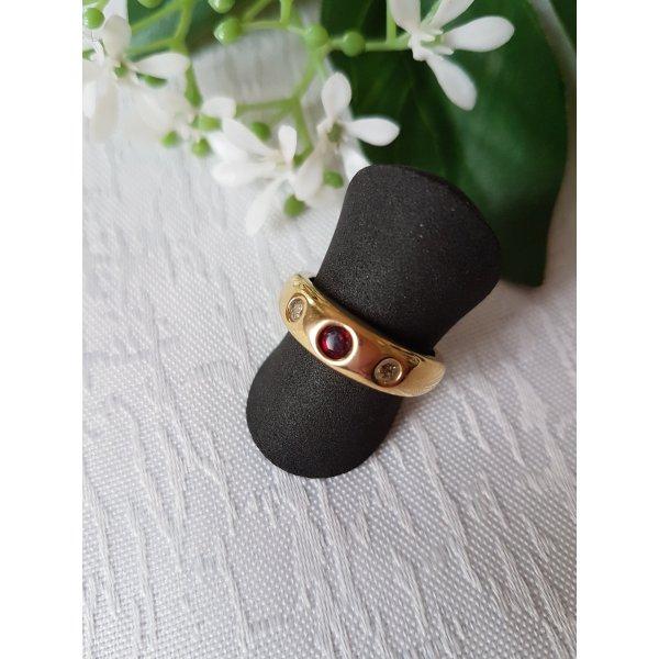 Romantischer Pierre Lang Ring, vergoldet mit rotem Swarovskistein, Gr. 51