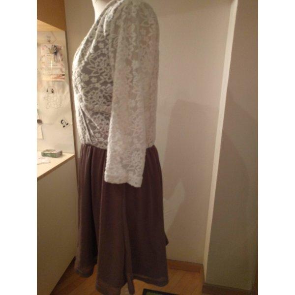 Bodyflirt Kanten jurk taupe-wit