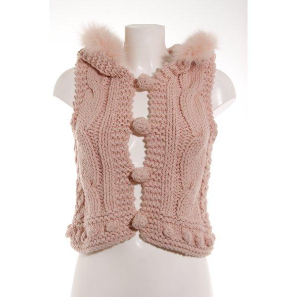 Romeo & Juliet Couture Chaleco de punto rosa punto trenzado mullido