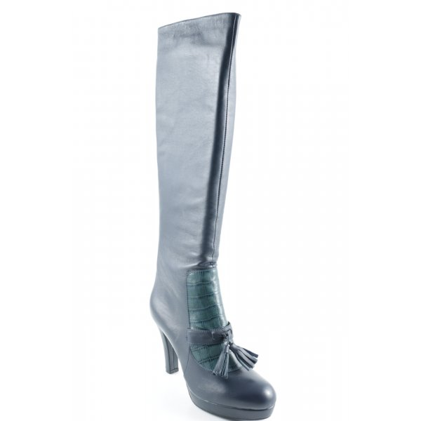 Rosa Rot Absatz Stiefel stahlblau-kadettblau Elegant