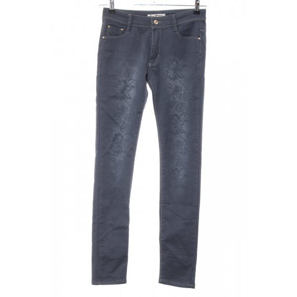 Rose Player Skinny Jeans hellgrau Blumenmuster Casual-Look