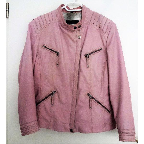 Rosefarbene Lederjacke von Cabrini aus Lammleder,Futter:grau/weiße Streifen