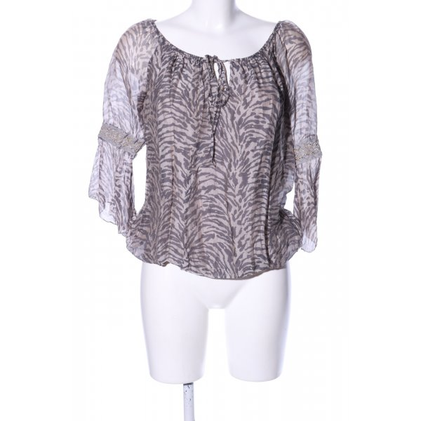 Langarm-Bluse pink-lila abstraktes Muster Casual-Look