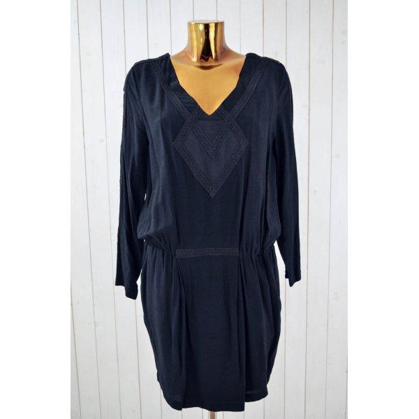 ROSEMUNDE Kleid Viskose Schwarz Spitze V-Ausschnitt Langarm Gr.38