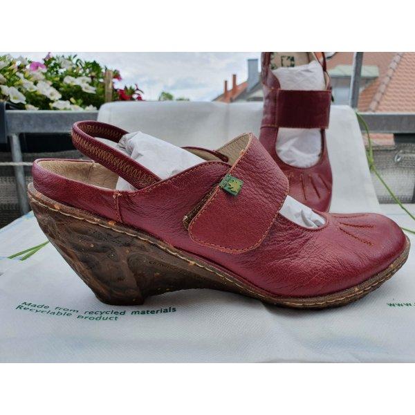 Rote El Naturalista Sandalen mit Keilabsatz