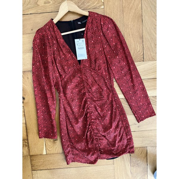 Rotes langärmliges Kleid mit Muster Zara S neu