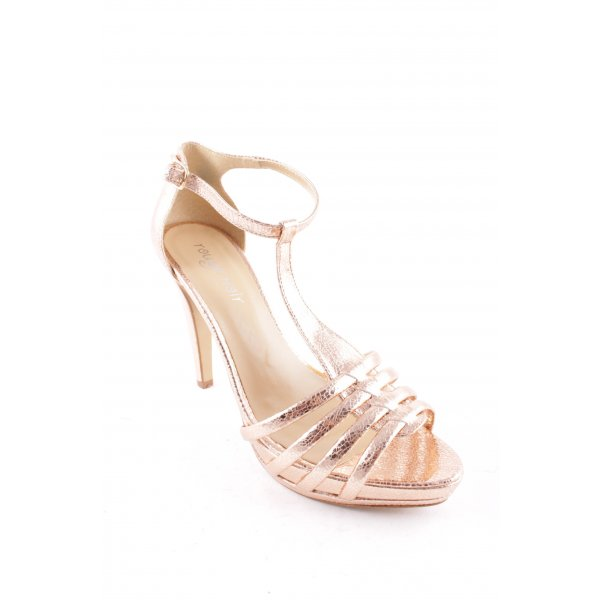 Rouge Noir Strapped High-Heeled Sandals gold-colored metallic look