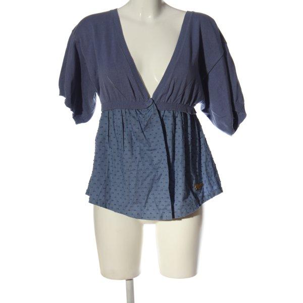 Roxy Kurzarm-Bluse blau Allover-Druck Casual-Look