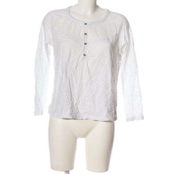 Roxy Langarm-Bluse weiß Webmuster Casual-Look
