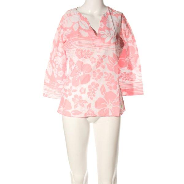 Roxy Tunikabluse weiß-pink Allover-Druck Casual-Look