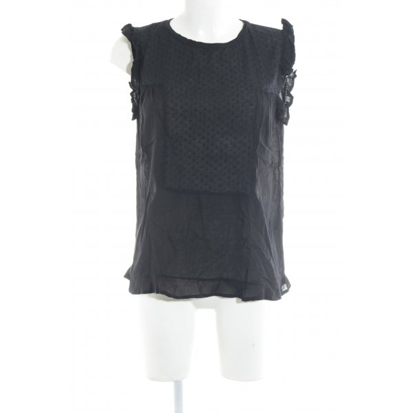Rue de Femme ärmellose Bluse schwarz Casual-Look