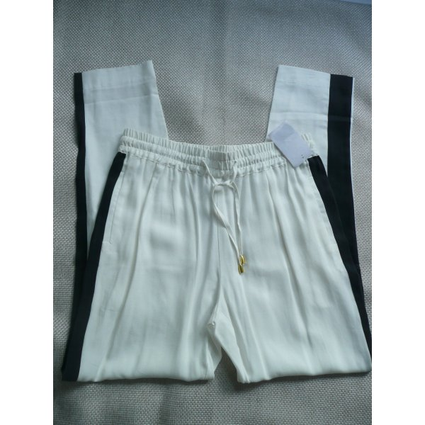 Sack's Stoffhose in Joggingpants-Optik cremeweiß m elastischem Bund und schwarzem Galonstreifen Gr 38
