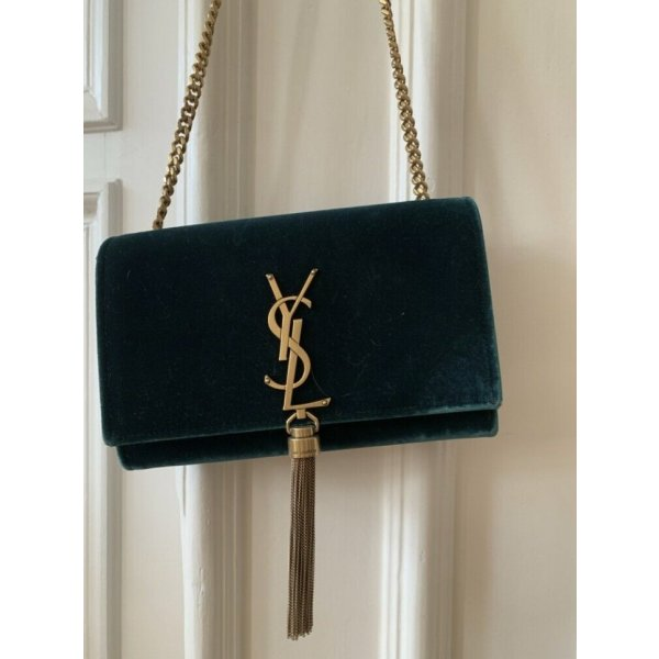 Saint Laurent 'Kate' Schultertasche Limited Edition Samt Grün