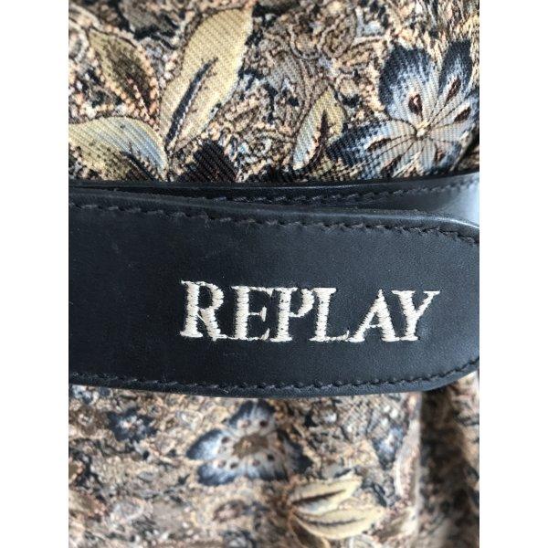 Replay Cinturón de cuero negro-color plata Cuero