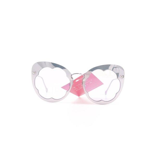 Salvatore ferragamo runde Sonnenbrille silberfarben Street-Fashion-Look