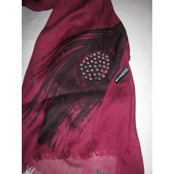 Samoon by GERRY WEBER XXL Schal Tuch Schlauch Rundschal bordeaux farben dunkelrot schwarz Strass Steine Fransenkante NEU