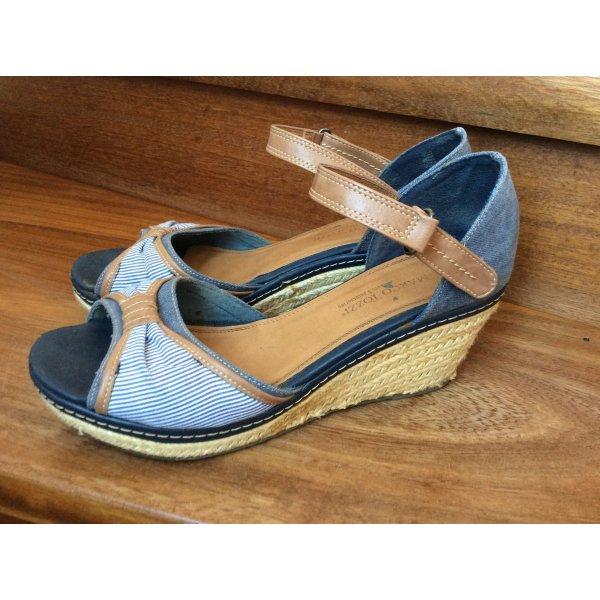 Sandalen, Keilsandalen blau gestreift von Marco Tozzi in Grösse41