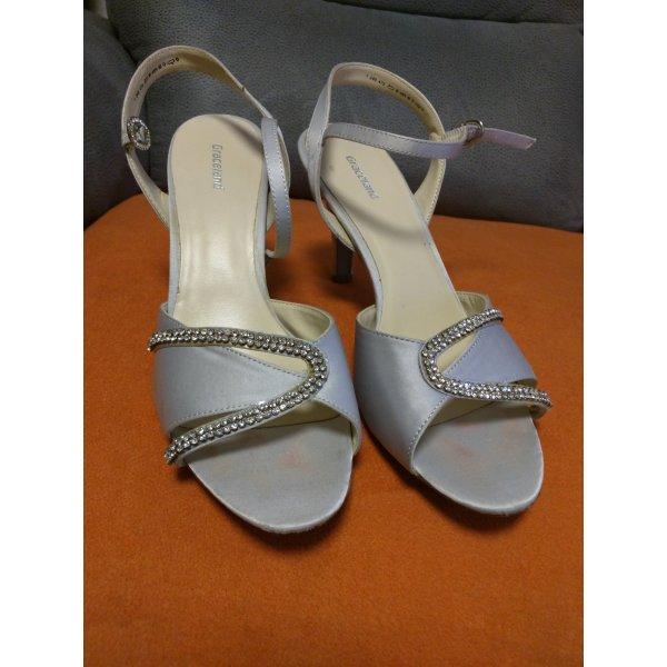 Sandalette mit Strass in Hellgrau Gr 40 Absatz 10 cm