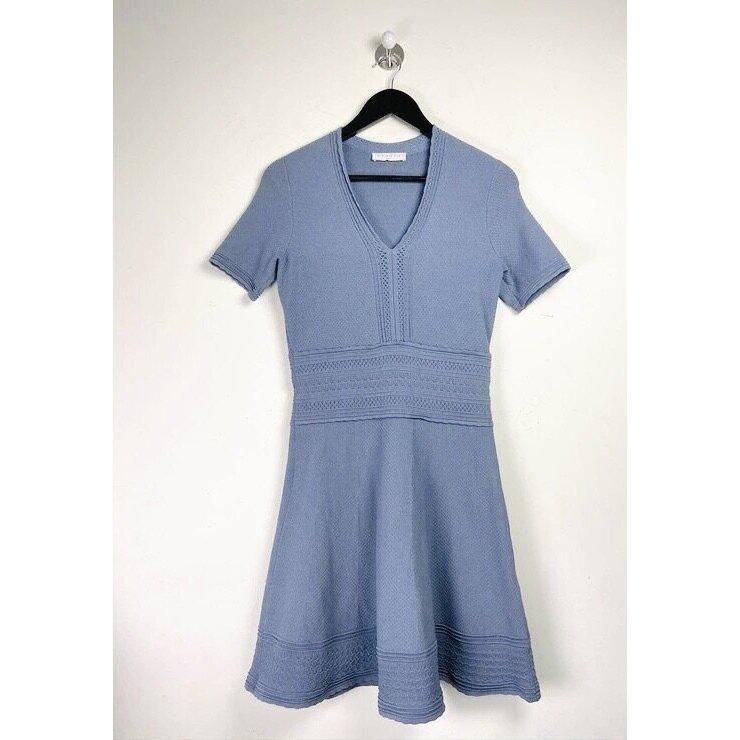 "Sandro Paris Babydoll Kleid ""Betsy"" hellblau denim farbend elegant"