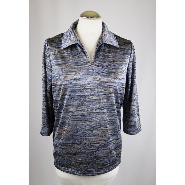 Sanfter Glanz Polo Shirt Tunika Atelier GS Größe 38 40 Kurztop Wellen Muster 3/4 Arm Goldfarben  Glitzer Retro