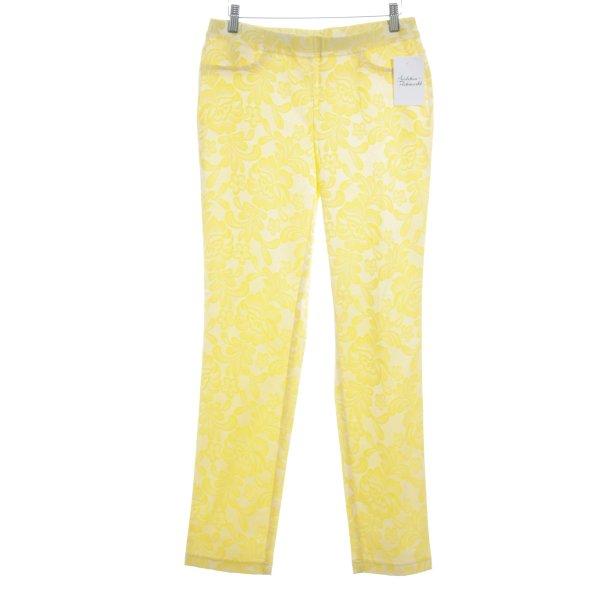 Sarah Kern Stoffhose gelb-hellgelb Ornamentenmuster 80ies-Stil