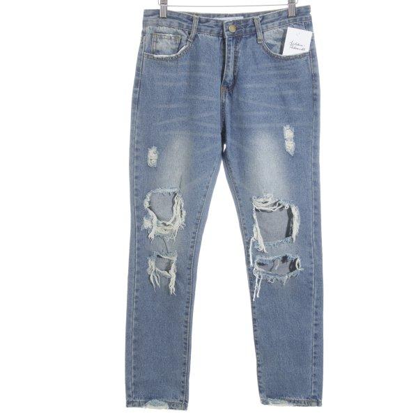 SassyClassy Slim Jeans kornblumenblau Destroy-Optik