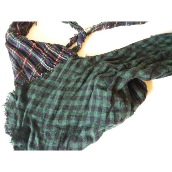 Schal * Tücher * Halstuch * Kariert *Karo * grün schwarz * Dreieck-Tuch