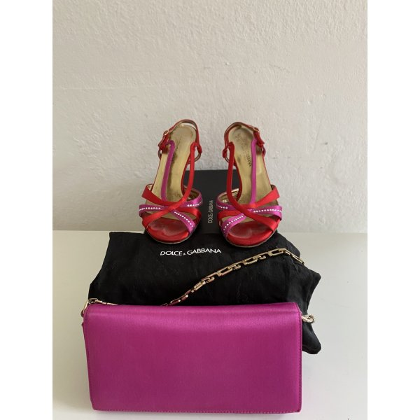 Dolce & Gabbana High Heels neon red-pink leather