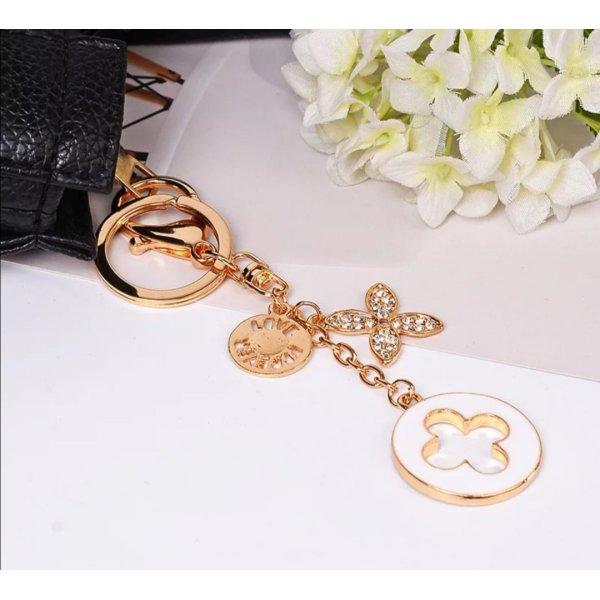 Schicker Schlüssel-/Taschenanhänger Blumen weiß golden NEU